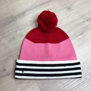 Kate Spade Stripe Pom Beanie Winter Hat Knit
